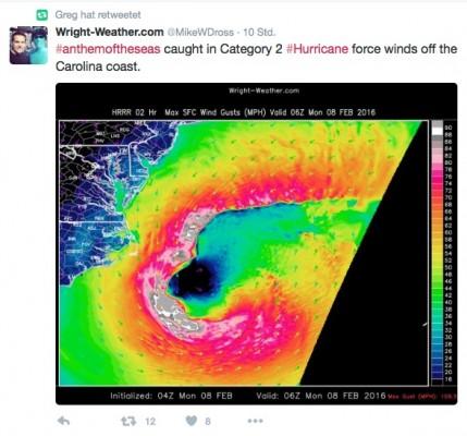 Twitter Kommentare zu dem aktuellen Sturmschaden auf der Anthem of the Seas - Foto/Quelle: Twitter/MikeWDross